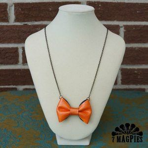 Upcycled Leather Bow Necklace in Candy OrangePink